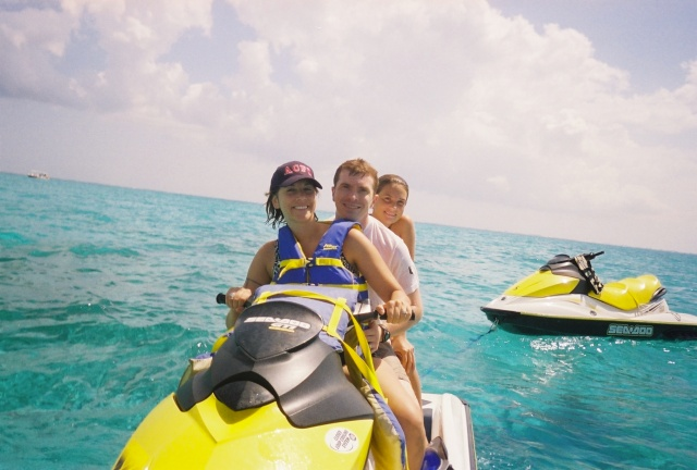We rented jet skis from our resort to visit Sting Ray City