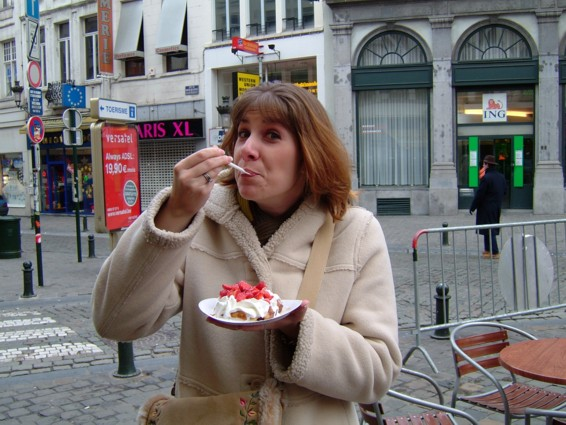 Of course I had to try a real Belgian Waffle!