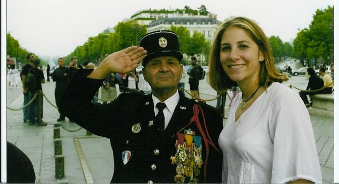 With a French veteran at the Arc de Triomphe