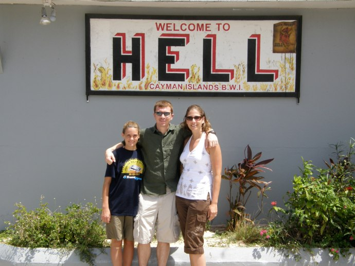 Rob, Victoria (sister), and I in Hell, Grand Cayman