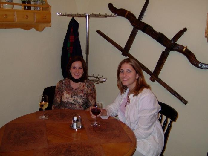 Billie and I enjoying Hungary's famous Bulls' Blood Wine